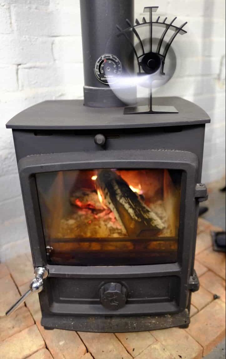 FDC 5 Wood Burning stove installed with stove top fan
