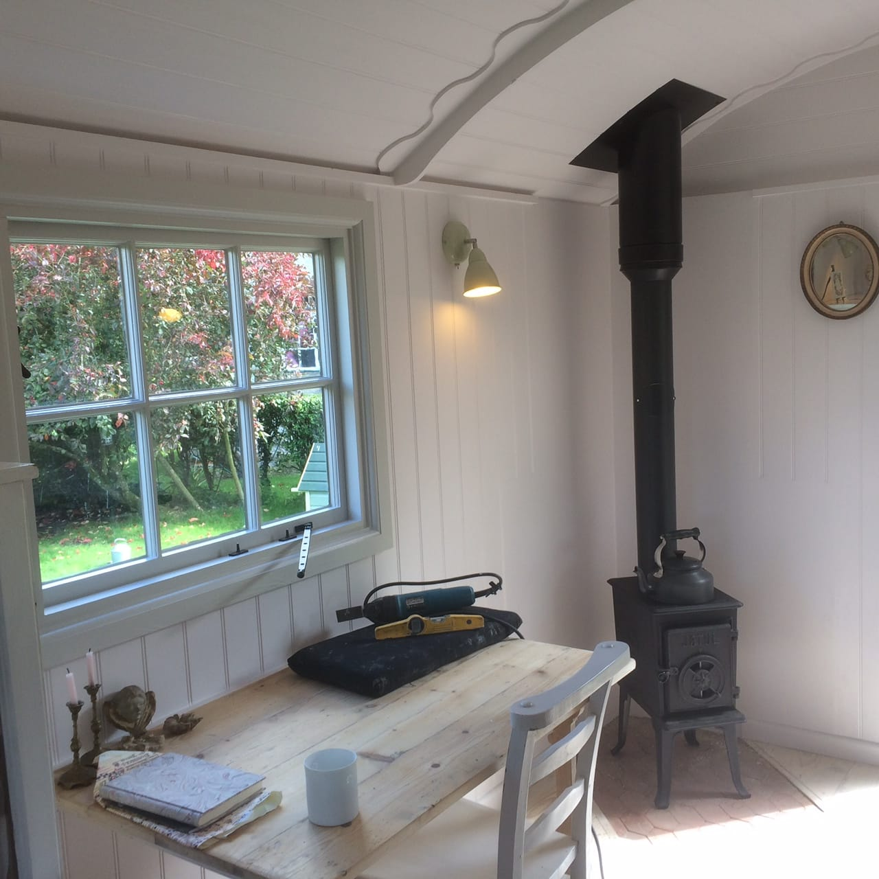 Jotul stove installed in an amazing hut built by Roundhill Shepherds Huts